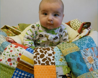 Modern Baby Quilt - Crib Blanket - Nursery Bedding - Animals - Woodland - Farm - Forest - Gnome - Baby Shower Gift - Unisex - Gender Neutral