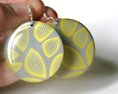 Gray and Yellow Leaf Design Large Resin Earrings with Teal Green Backs