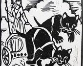 F for Freyja (woodcut)