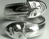 Drama Masks Sterling Silver Adjustable Spoon Ring