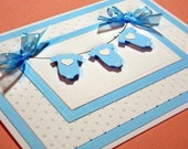 Baby Boy Card, Baby Card, New Arrival Boy Card, Baby Shower Card, Laundry on the Line Baby Greeting Card