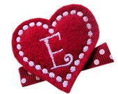 FELT Monogram Hair Clip - RED personalized HEART - monogrammed hair clips for girls Valentine's Day hair bow