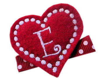 FELT Monogram Hair Clip - RED personalized HEART - monogrammed hair clips for girls Valentine's Day