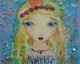 Inspirational Print, Girls Wall Art, Mixed Media Art,  Folk Art Girl, Shabby Girls Decor- 8 x 10