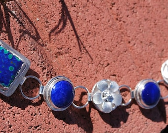 Azurite and Lapis sterling silver bracelet