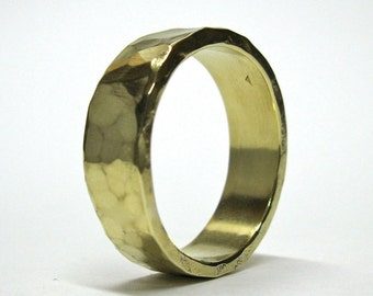 Hand Made, Hammered Gold Wedding Ring, 10k gold Ring, His Wedding Ring, Hers Wedding Ring, Rustic Wedding Ring, Wedding Band