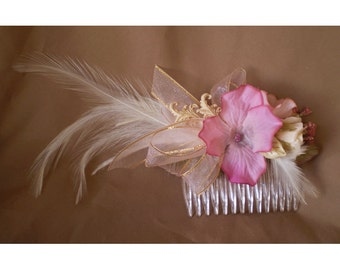Feather floral pink flower comb boho bridal hair flowers Victorian faerie renaissance fairy costume Mothers Day gift prom