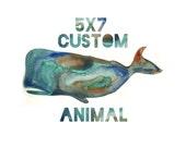 Custom Animal Watercolor 5x7
