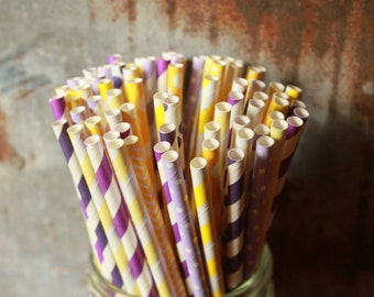 Tangled Party Straws, Purple & Yellow Paper Straws, Set of 25, Lavender straws, Lemon Shower, Purple Wedding, Yellow Birthday, Vintage Style