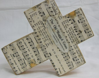 Wood Hymnal Cross Old Rugged Cross Rustic MADE TO ORDER