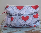 Red Heart Bunny Wristlet Valentines Day Purse