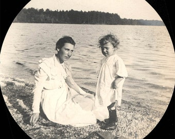 vintage photo 1909 Mother Baby at Waters Edge Lake
