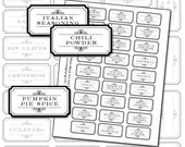 Black and White Spice and Herb Labels Set digital collage sheet 300dpi 2x1 25mm x 50mm for kitchen Victorian basil bay leaves cumin dill