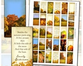 Autumn Harvest Quotes Domino digital collage sheet 1x2 inch with leaves trees pumpkins