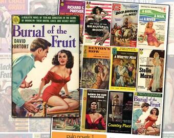 Vintage Pulp Fiction Paperback Novel Covers digital collage sheet No 1