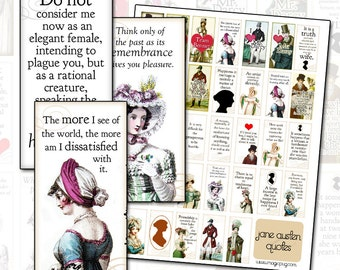 Jane Austen Quotes digital collage domino sheet  1x2 inch 25 mm x 50 mm Pride & Prejudice