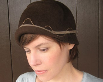 Brown Felt Cloche Hat, Taupe Embroidery, Handmade Millinery 1920s Style Chocolate Brown Hat, Size 7 1/8, Charlotte