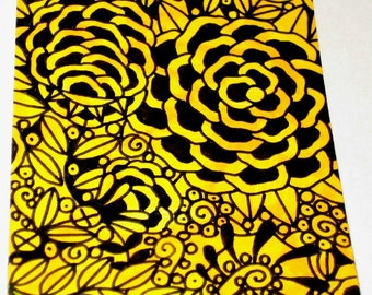 Original Drawing ACEO Black and Yellow Flowers Design