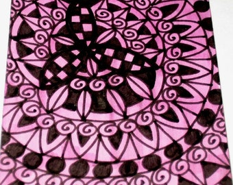 Original Drawing ACEO Pink and Purple Design