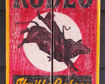 Rodeo, Thrills Galore, Old Matchbook Cover inspired art, Vintage-looking pallet wood sign, hand made, hand painted, man cave