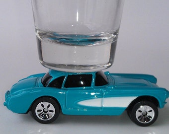 The ORIGINAL Hot Shot, Shot Glass, '57 Chevy Corvette, Classic Car, Turquoise, Maisto