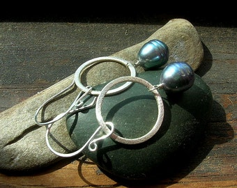 Sterling Silver brushed hoops with large marine blue freshwater pearl drop