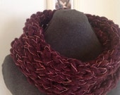 Burgundy Chunky Knit Infinity Cowl with Pink, Red and Ivory Accents