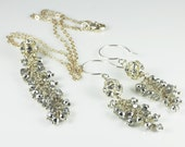 Wedding Necklace and Earrings, Rhinestone Disco Ball, Sterling Silver