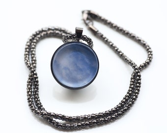 Blue Sky And Clouds Pendant, Gunmetal Black, Photography, Necklace, Photo Jewelry