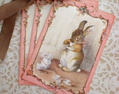 Easter Tags - French Rabbit Tags - Vintage RAbbit - Tea Party Tags - Pink, Tea Tags - Set of 3