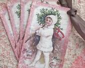 Christmas Tags - Vintage Christmas Tags - Snow Girl Tags - Set of 4