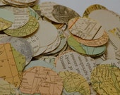 """Lot of 1 3/8"""" Antique Map Circles for 1"""" Button Maker Altered Art Scrapbooking Crafts"""
