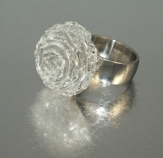 Pearly Clear Bead Ring - Lampwork Jewelry - Lampwork Ring - Glass Bead Jewelry - Glass Bead Ring - Modern Jewelry - Bridal Jewelry