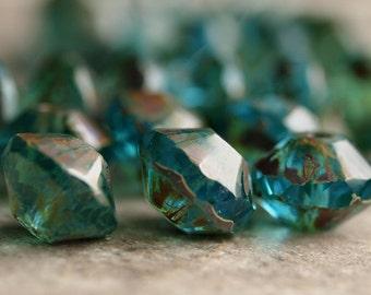 Deep Aqua Blue Picasso Czech Glass Bead 13x9mm Saucer Rivoli : 6 pc