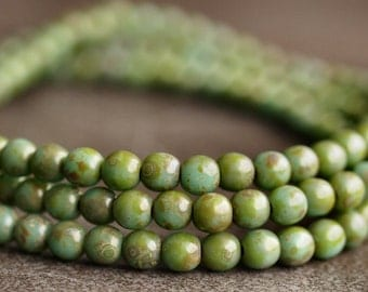 Turquoise Green Picasso  4mm Czech Glass Round Druk Bead : 50 pc Strand