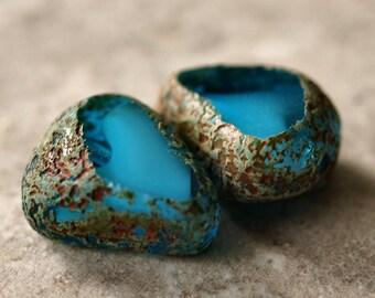 Capri Blue White Czech Glass Bead Stone Picasso 19mm Nugget Drop : 2 pc