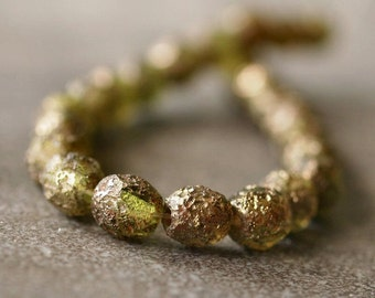 Olivine Stone Picasso Czech Glass Bead 6mm Firepolish  Faceted Round Bead : 25 pc