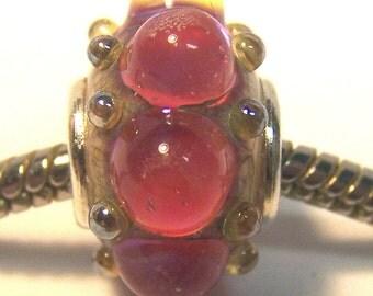 Lampwork Bead -Pink Pixie Opal- ( European Style Lined Bead) SRA S105