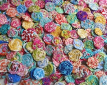 "Rolled Roses Candy Applique Fabric Flowers Tropic Hairclip Pinwheel Lollipop Bobby Pin Rosette 1"" Scrapbook Handmade Wholesale 40"