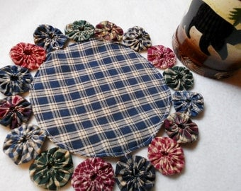 YoYo Round Mat Candle Holder Primitive Country Decor Placemat