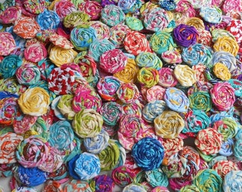 "Candy Applique Fabric Flowers Tropic Hairclip Pinwheel Lollipop Bobby Pin Rosette 1"" Scrapbook Handmade Wholesale 40"