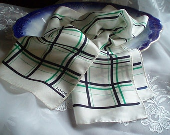 Vintage Designer Echo Navy and Green  Plaid  Scarf