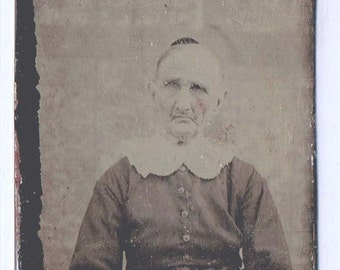 Antique Tintype Photo Scary Gothic Grandma