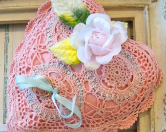 Modern Vintage / Doily Ring Holder Pillow / Wedding Rings / Made from Vintage Craft Supplies / Silk Ribbon