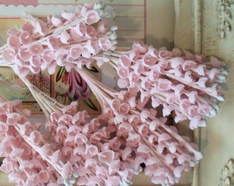 Vintage / Fabric Millinery Flowers / Lily of the Valley / Five Bouquets / Light Pink / May Bells / French Muguet / Our Lady's Tears