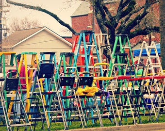 Parade Ladders Photo, Mardi Gras Parade Art, Colorful Mardi Gras Photo, Endymion Parade Photo, Bright Colors Art, New Orleans Carnival Photo