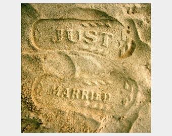 Just Married Wall Decor, Beach Wedding Gift, Footprints in Sand, Honeymoon Photo, Beach Photo, Romantic Art, Beach Sand Decor, Beige Decor