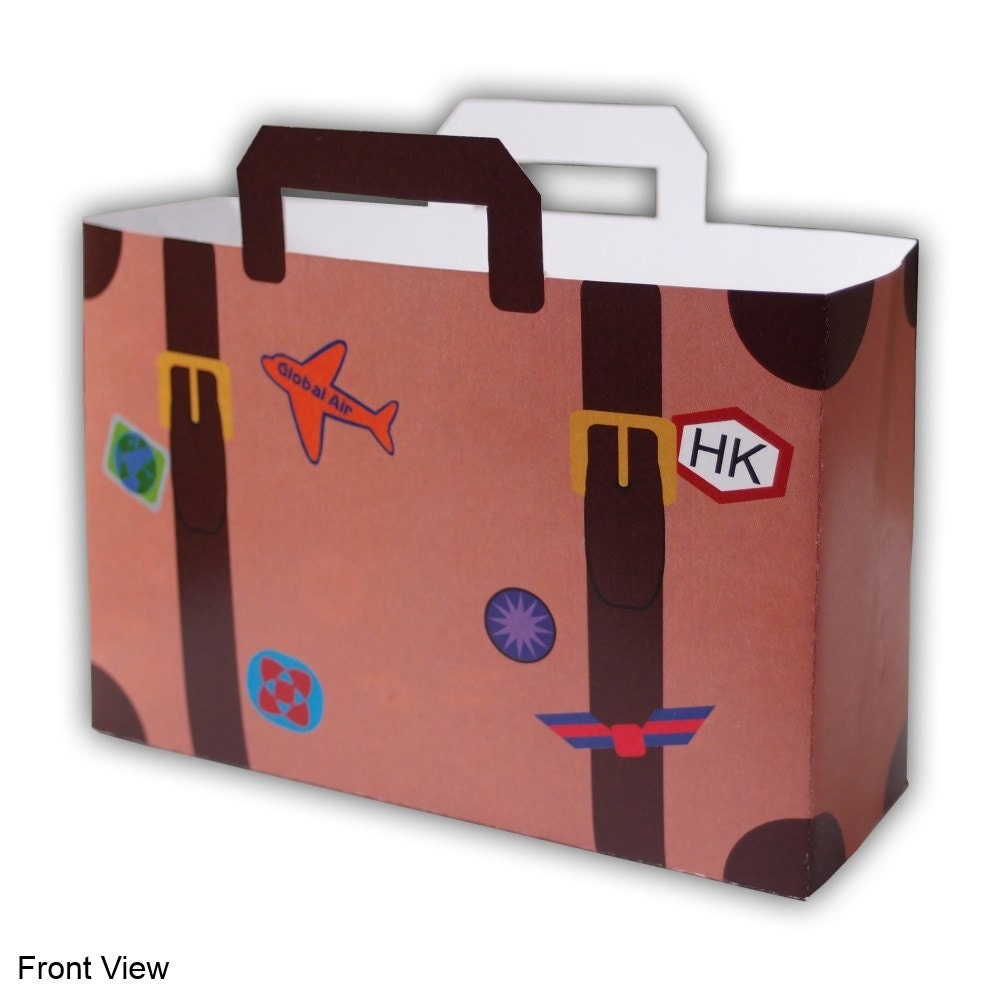 Small World Traveler Sticker Covered Suitcase Luggage Favor