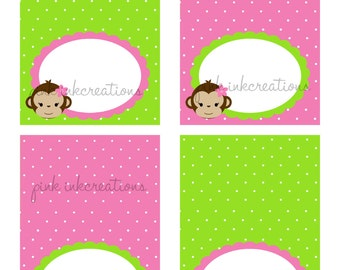 Monkey Girl Food Tent Cards / Monkey Place Cards / Monkey Food Labels / Girl Monkey Food Tents / Monkey Tent Cards / INSTANT DOWNLOAD