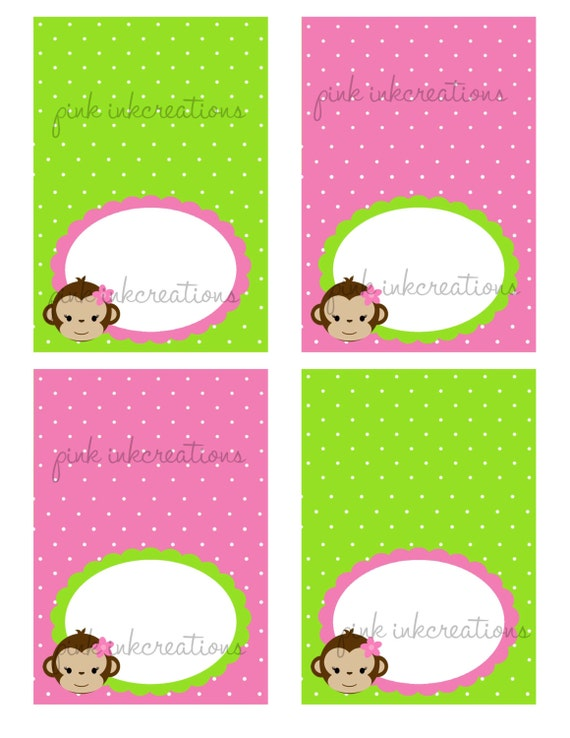 sc 1 st  Etsy & Monkey Girl Food Tent Cards / Monkey Place Cards / Monkey Food